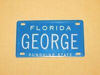 """VINTAGE 4"""" X 2 1/4"""" METAL GEORGE FLORIDA SUNSHINE STATE  MINI LICENSE PLATE"""