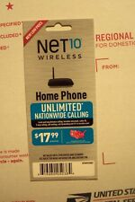 Net10 Home Phone Land Line $17.99 30 Day Unlimited Nationwide Refill Card.