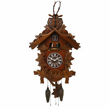 LARGE CARVED WOOD CUCKOO WALL CLOCK WITH MUSIC & DANCING ANGELS. NEW.WOODEN