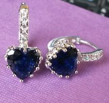 FH White & blue heart sapphire, silver (WHITE GOLD GF) French Hoop Plum UK BOXD