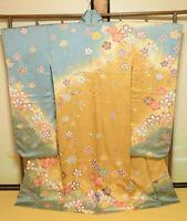 Furisode Silk Kimono Women Japanese Vintage Robe Pink Flower 158cm /729