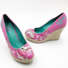 Ed Hardy Womens size 6 Wedge Heels Hot Pink Coy Fish Espadrille
