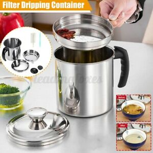 1.8L Oil Filter Pot Storage Can Grease Strainer Container Kitchen Cooking