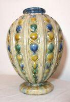 large antique 19th century Belgian Belgium drip glazed earthenware pottery vase