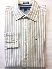 Tommy Hilfiger Men's Longsleeve Dress Shirt White Green Stripe S 14 1/2 –15