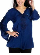 Indigo Thread Co.™ Soft Woven 3/4 Sleeved Embroider Notch Neck Top Blue Navy 1X