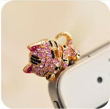 Crystal Kitty Cat Crystal Anti Dust Plug Cap Phone Earphone Jack Charm