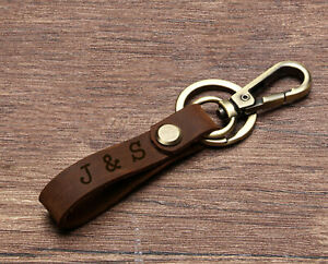 Personalised Leather Keyring Fathers Day Gifts Belt Loop Car Keychain Any Text