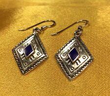 925 Fine Sterling Silver Blue Lapis Gemstone Hook Dangle Earrings