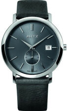 alfex Steel/ Leather Mens Watch 5703/751. 3atm Water Resistant Swiss Made.