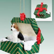 American Foxhound Dog Green Gift Box Holiday Christmas Ornament