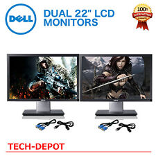 """Matching DUAL LARGE DELL Ultrasharp 22"""" Widescreen LCD Monitors w/ cables Gaming"""