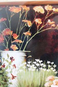 Unique Floral Still Life Garden Print with multiple Vases Framed