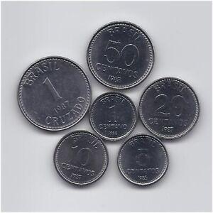 BRAZIL 1986 - 1988 SIX UNCIRCULATED COINS SET 1 CENTAVO TO 1 CRUZADO