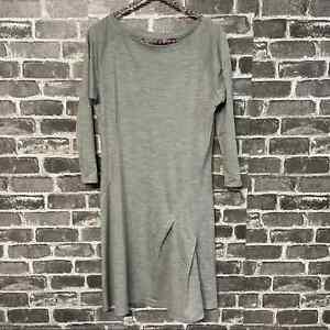 Nau 3/4 sleeve gray stripe merino wool dress size SMALL S