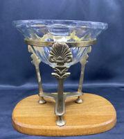 "Vintage 2 Piece Art Deco Brass Pedestal Stand and Glass Decorative Bowl EUC 7"" H"