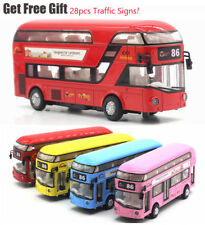 Sound Light 1:32 Metal Double-Decker Tour London City Bus Pull Back Car Kid Toy