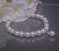 Funkelndes Perlen Armband weiß  19cm  Strass Rondelle NEU