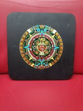 Vintage CRE. ART SA MEXICO AZTEC CALENDAR WALL DECOR PLAQUE ENAMEL on WOOD