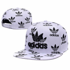Embroidered Adidas Trefoil Snapback Flat Cap White Black: One Size Fits Most