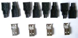 4 X USB Type A 4 Pin MALE Socket Kit Connector Plug Black Plastic Shell Solder