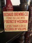 RARE Prohibition Era Bechaud Brewing Co. Tin Sign Case Keg Plate Fond du Lac Wis