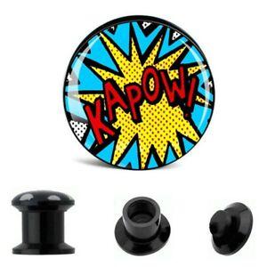 6MM-25MM EAR PLUG TUNNEL SCREW BACK COMIC STASH STRETCHER LOGO ACRYLIC BLACK