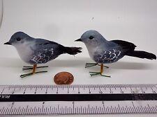 Hand made Birds x 2 Dolls House Miniature Garden Bird M ( Grey )