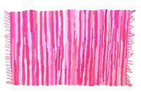 PINK RAG RUG FAIR TRADE INDIAN MAT HAND LOOMED BRAIDED RECYCLE COTTON 60 x 90cm