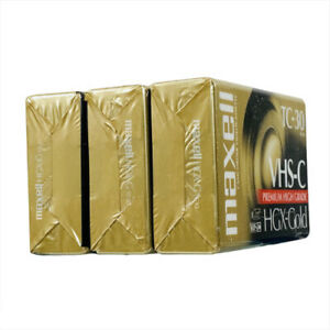 Lof of 3 VHS-C Maxell HGX-Gold TC-30 Premium HIgh Grade Camcorder Cassette Tapes