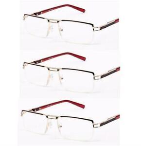 Quality Mens Reading Glasses (2~3~4 Pair Pack) Semi Rimless Strength + 3.50 R43