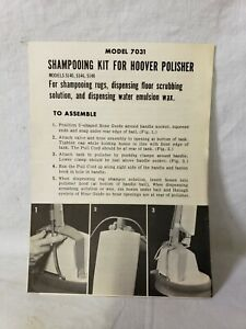 VINTAGE HOOVER SHAMPOOING KIT 7031 FOR POLISHER 5140 5146 & 5148 OWNERS MANUAL W