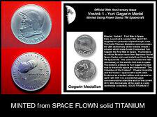 100% Space Flown Vostok 1 / Gagarin Titanium Medallion / 1991 GEM BU + Coin Case