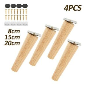 4x Wooden Furniture Legs Tapered Feet For Sofa Table Chair Stool 8-20cm M8 UK