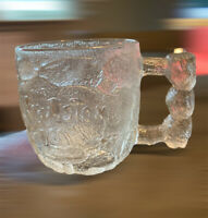 McDonalds Flintstones Rocky Road Glass Mug Cup Etched Embossed Vintage 1993