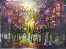 Folk Art Fall Three Little Ghost Halloween Moon Moonlite Woods Lizzy Rainey