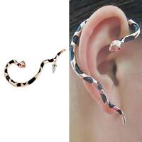 Women Snake Shaped Cuff Earring Inlaid Ear-hook Earrings Jewelry Gifts Chic