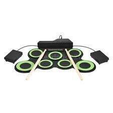 Digital Electronic Roll Up Drum Kit 7 Silicon Drum Pads USB Powered Green Q8V9
