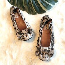 LANVIN Black & White Leopard Print Canvas Bow Elastic Ballet Flats Size 37