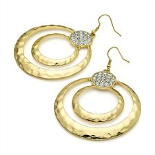 Gold Colour Round Diamante Crystal Drop Earrings