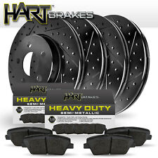 [FRONT+REAR] Black Hart *DRILLED & SLOTTED* Brake Rotors + Heavy Duty Pads H1590