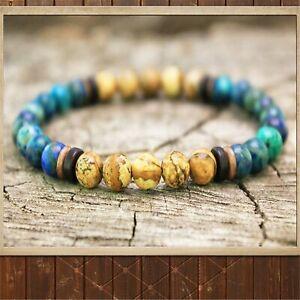 6mm Chrysocolla Beads Handmade Bracelet 7.5inch Buddhism Religious Meditation