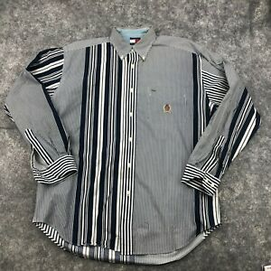Vintage Tommy Hilfiger Button Up Shirt Mens Medium Navy Blue Striped Long Sleeve
