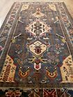 Vintage Hand Knotted Afghan Pictorial Wool Area Rug 7 x 4 Ft