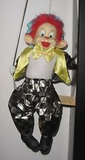 Vintage Porcelain Face Circus Monkey on a Wooden Swing Marionette Puppet