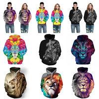 Couples 3D Lion Graphic Print Hoodie Sweater Sweatshirt Jacket Coat Pullover Top