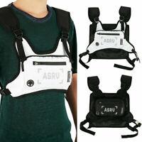 Tactical Front Chest Rig Bags Nylon Harness Vest Reflective Hip Hop Shoulder Bag