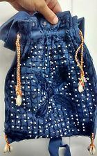 vintage bag vintage beaded sea shells Navy blue  ethnic purse Indian mirrors vtg