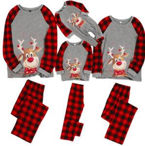 Xmas Christmas Family Matching Pyjamas Women Kids Nightwear Sleepwear PJs Set