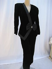 Grau Black Velvet Rhinestone 2pc Suit Jacket & Pants Vintage 80s Size M